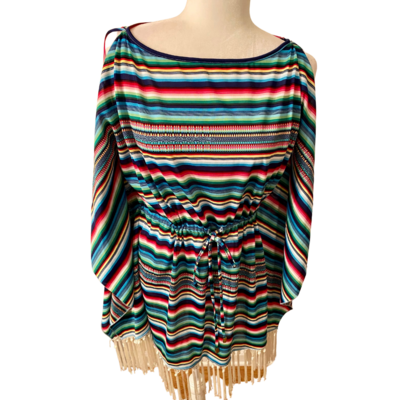 Inca Cold Shoulder Drawstring Tunic with Fringe Women's Small