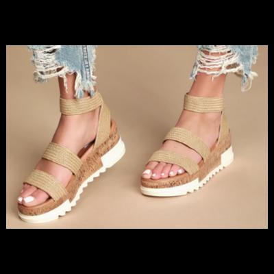 STEVE MADDEN Bandi Natural Raffia Platform Wedge Sandal Women's 7.5