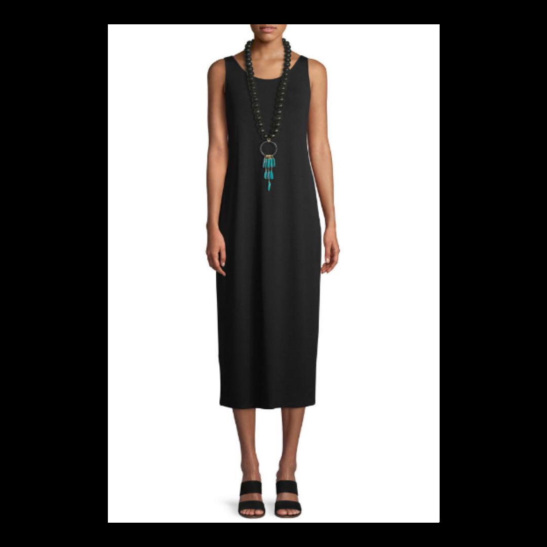 Eileen Fisher Linen Blend Chocolate Sleeveless Scoop Neck Dress Women's 2X