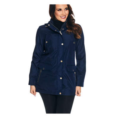 Michael Kors Navy Lined Cinched Jacket Women's Large