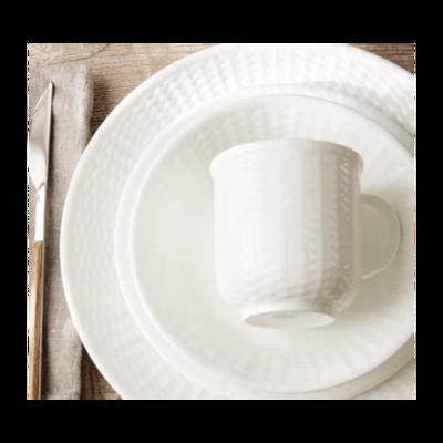 Wedgewood Nantucket Embossed White Bone China 8 oz Set of 6 Mugs