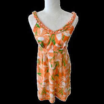 Lilly Pulitzer Floral Braided Fabric Neckline Sundress Women's 10