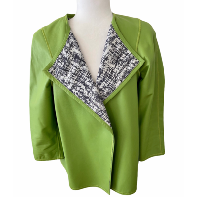Lafayette 148 New York Collarless Green Soft Leather Jacket Women's Small