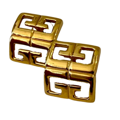 Givenchy Vintage Signature Square Post Earrings