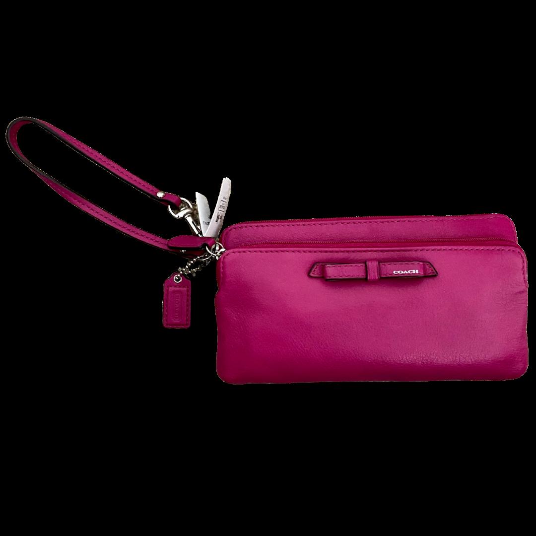 COACH Leather Double Zip Poppy Wristlet Wallet