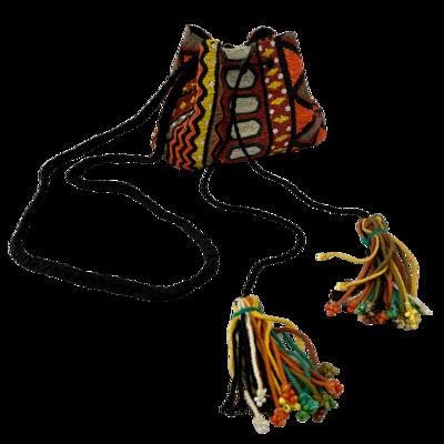 Zara Beaded Multi-Colored Drawstring Crossbody Purse