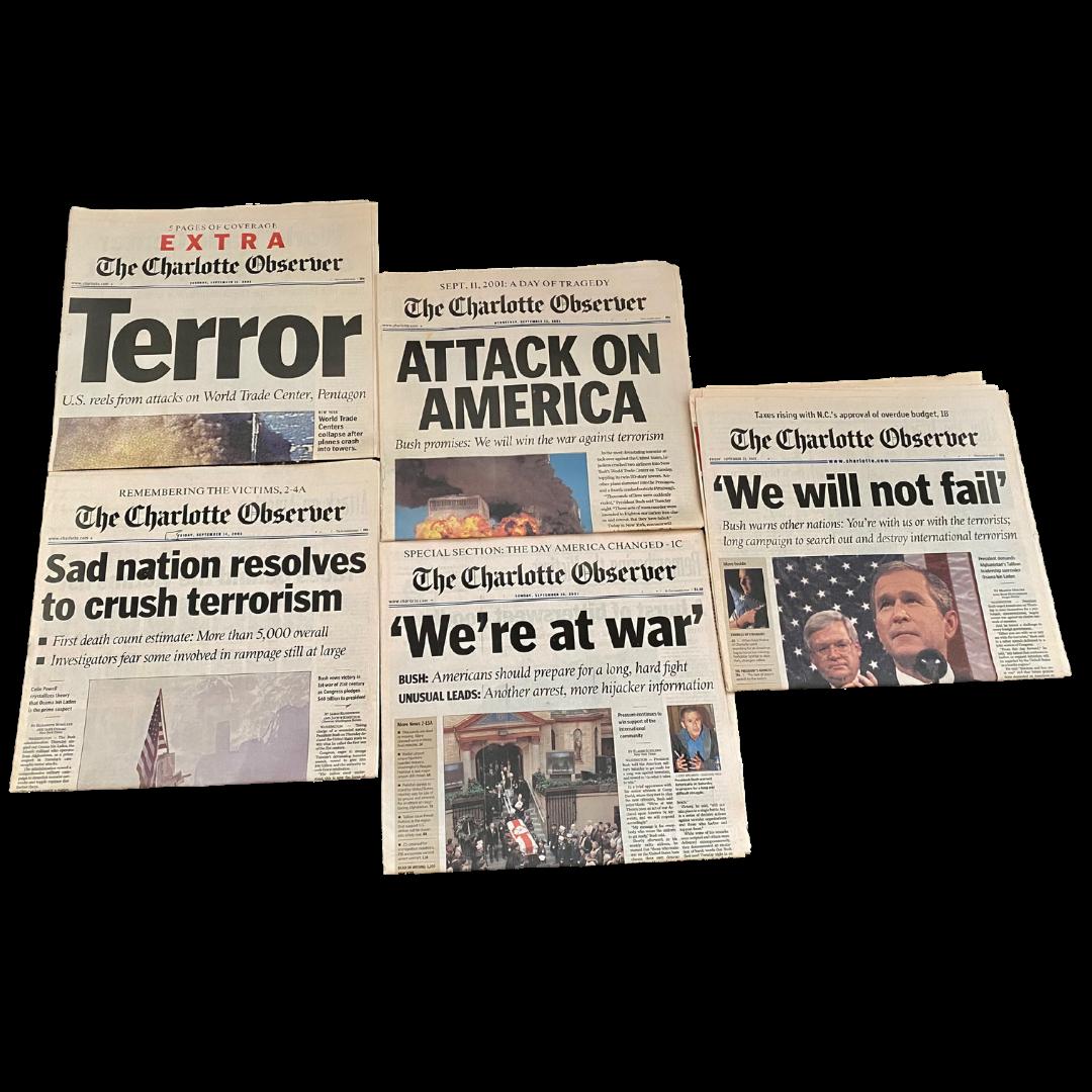 September 11th, 2001 Charlotte Observer Newspaper Lot of 5 Newspaper Headlines