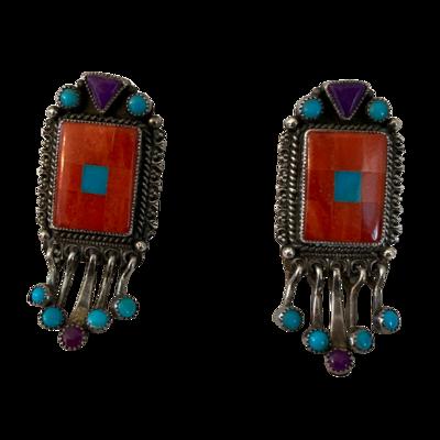 Aldrich Art Jewelry Custom Sterling Silver Post Mosaic Blue Turquoise Earrings