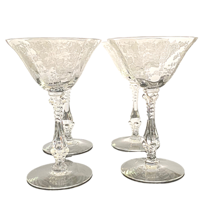 Cambridge Rose Point Clear Etched Crystal Champagne/Tall Sherbet Stemware Set of 4