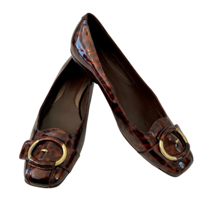 Cole Haan Tortoise Patent Leather Flats with Nike Air Soles Women's 8