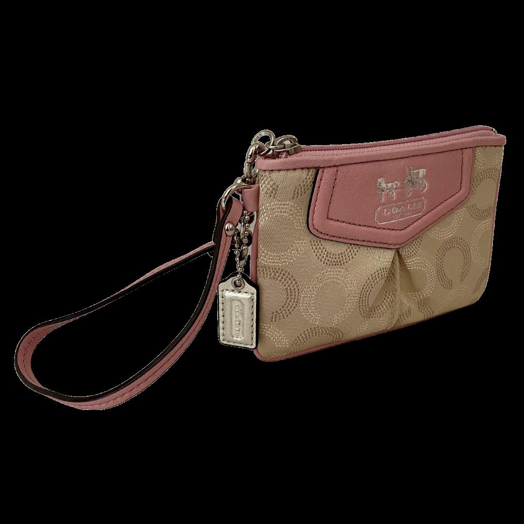 COACH Pink & Cream Wristlet Wallet