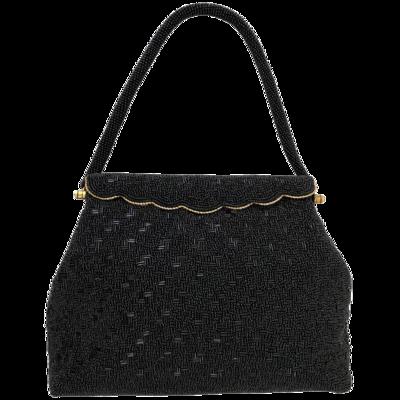 Made In Hong Kong Beaded Black Evening Bag