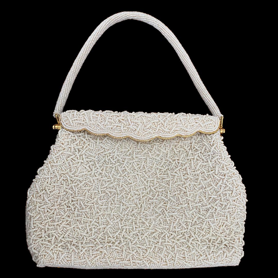 Made In Hong Kong Beaded White Evening Bag