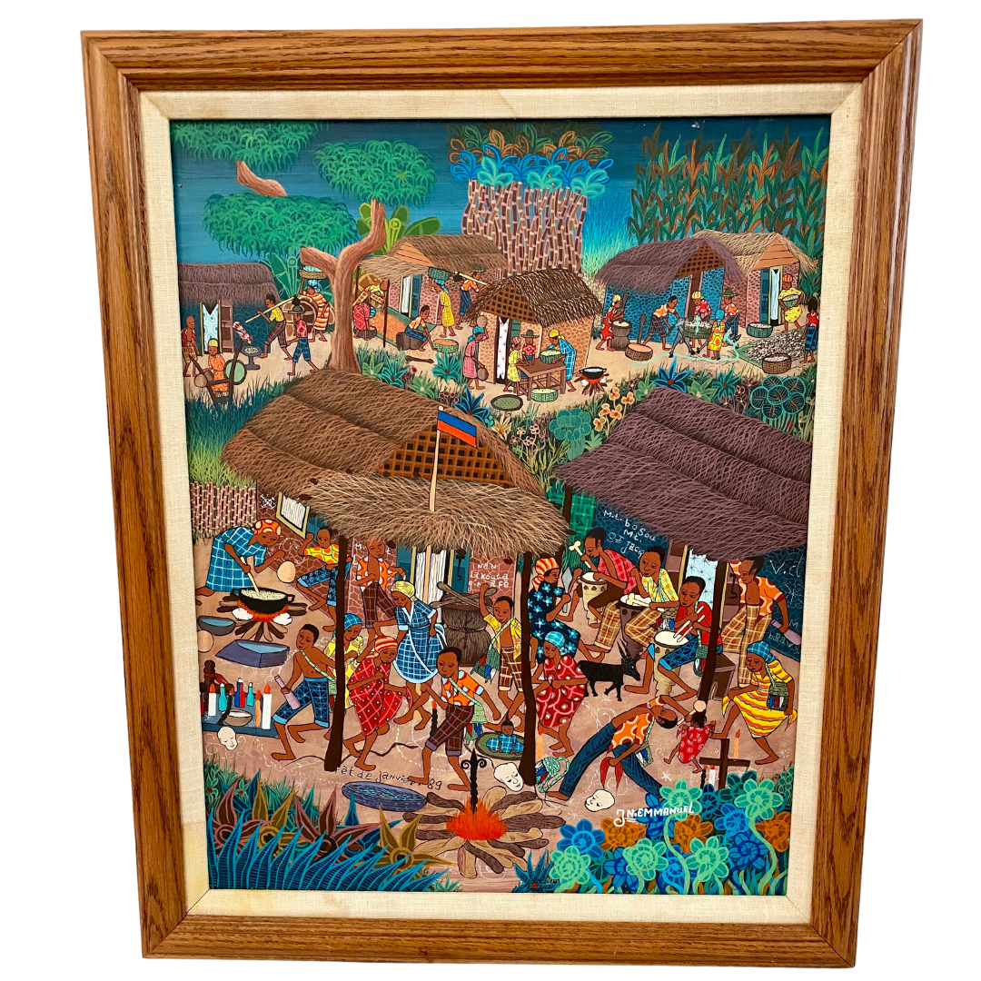 "Jean Emmanuel Haitian Art Signed Acrylic on Masonite Framed Entitled ""Fet de Janvier 89"""