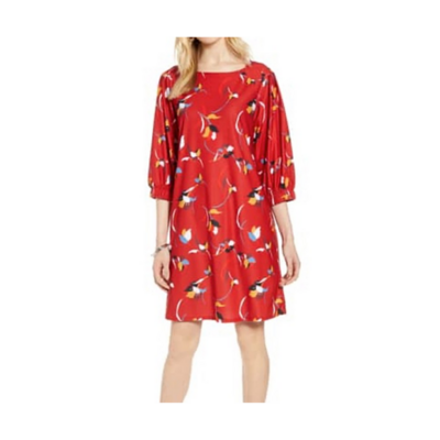 Halogen Red Buelle Floral Dress Women's Small