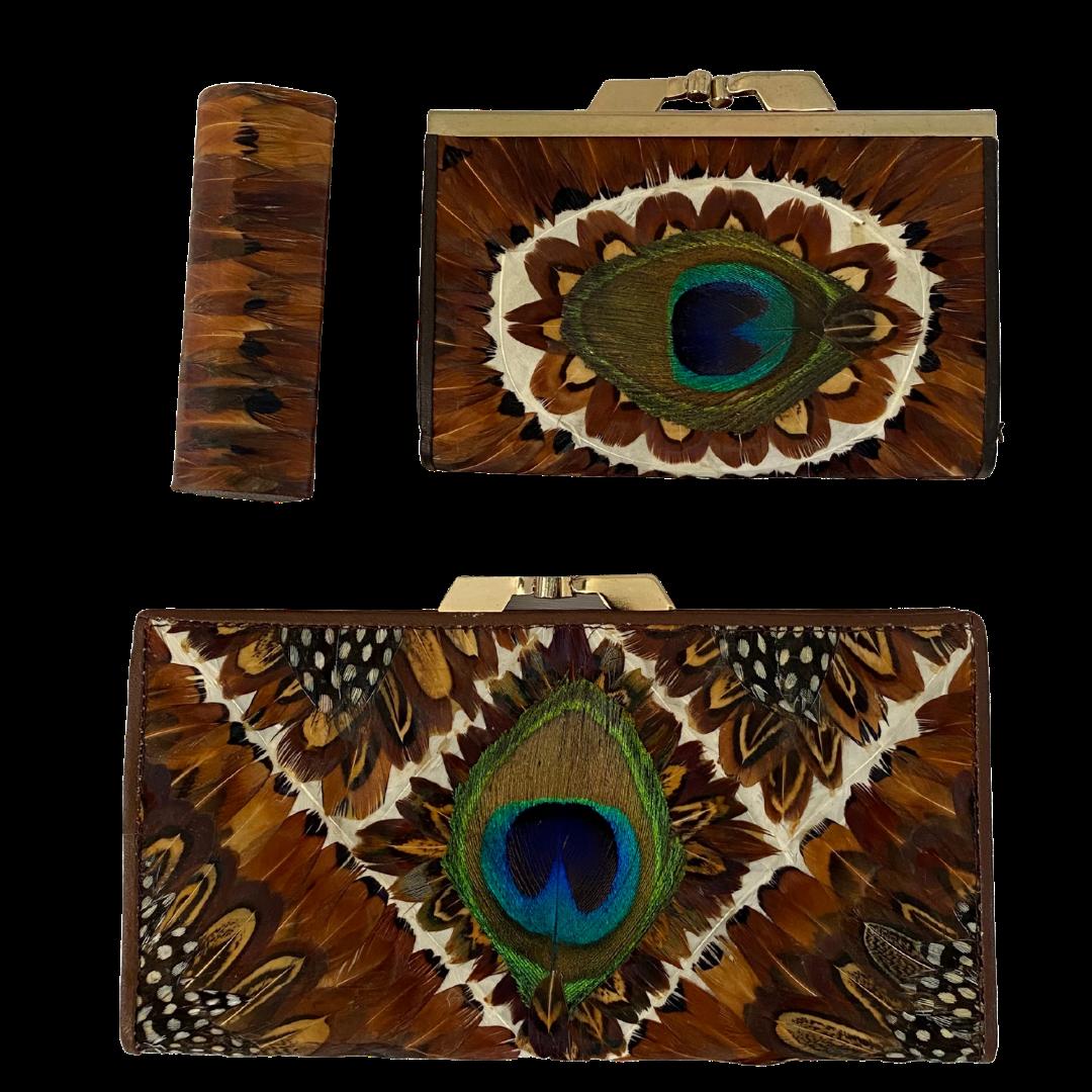 Lee Sands Peacock, Pheasant, and Guinea Hen Set Includes 2 Wallets & Lipstick Case