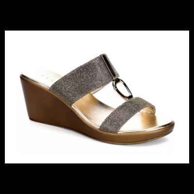 Pesaro Gold Wedge Sandal Shoe Women's 8