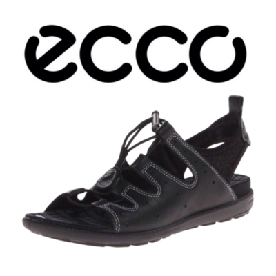 Ecco Black Sandal Shoe Women's 38
