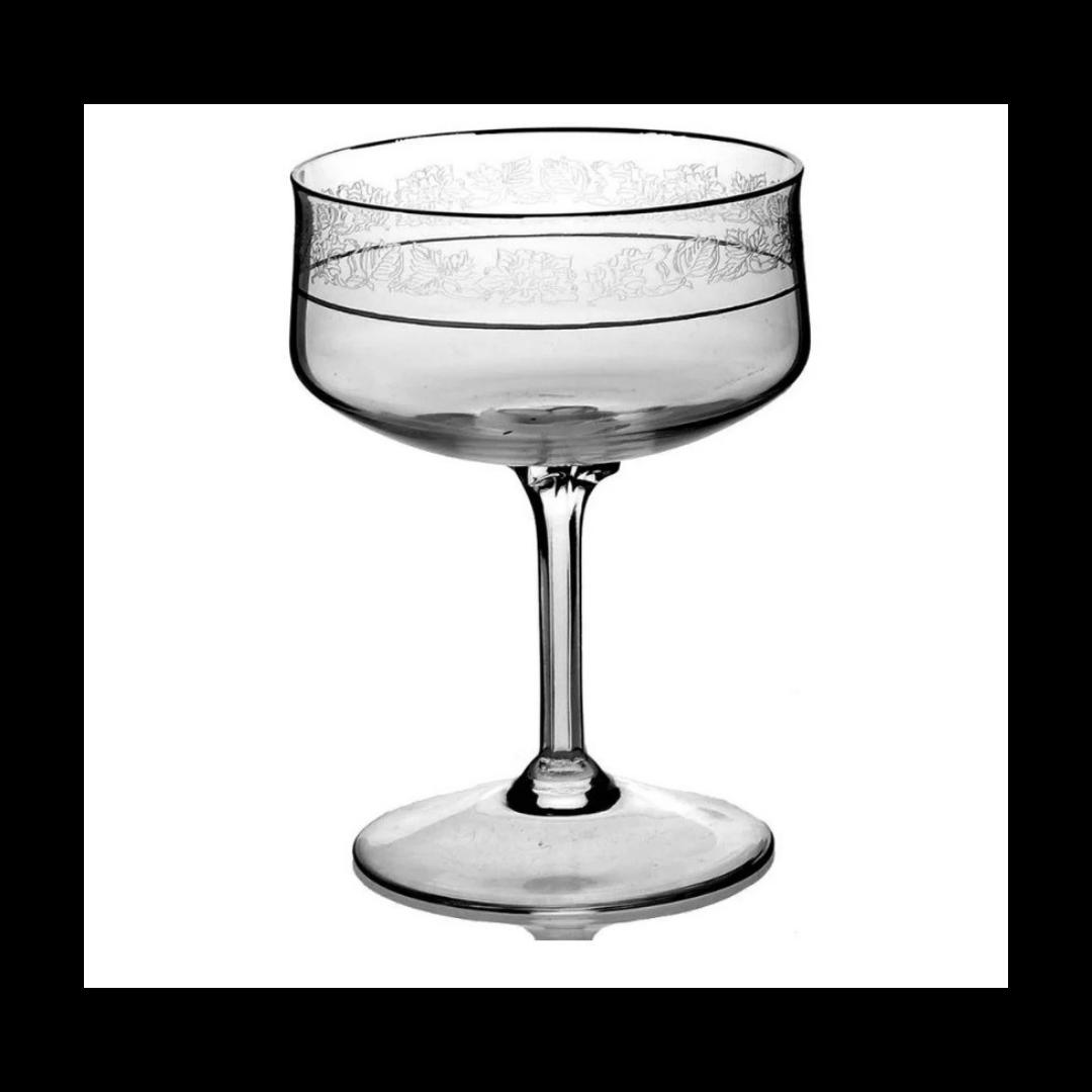 LENOX Champagne/Tall Sherbet Moonspun Platinum Trim Glassware Set of 6