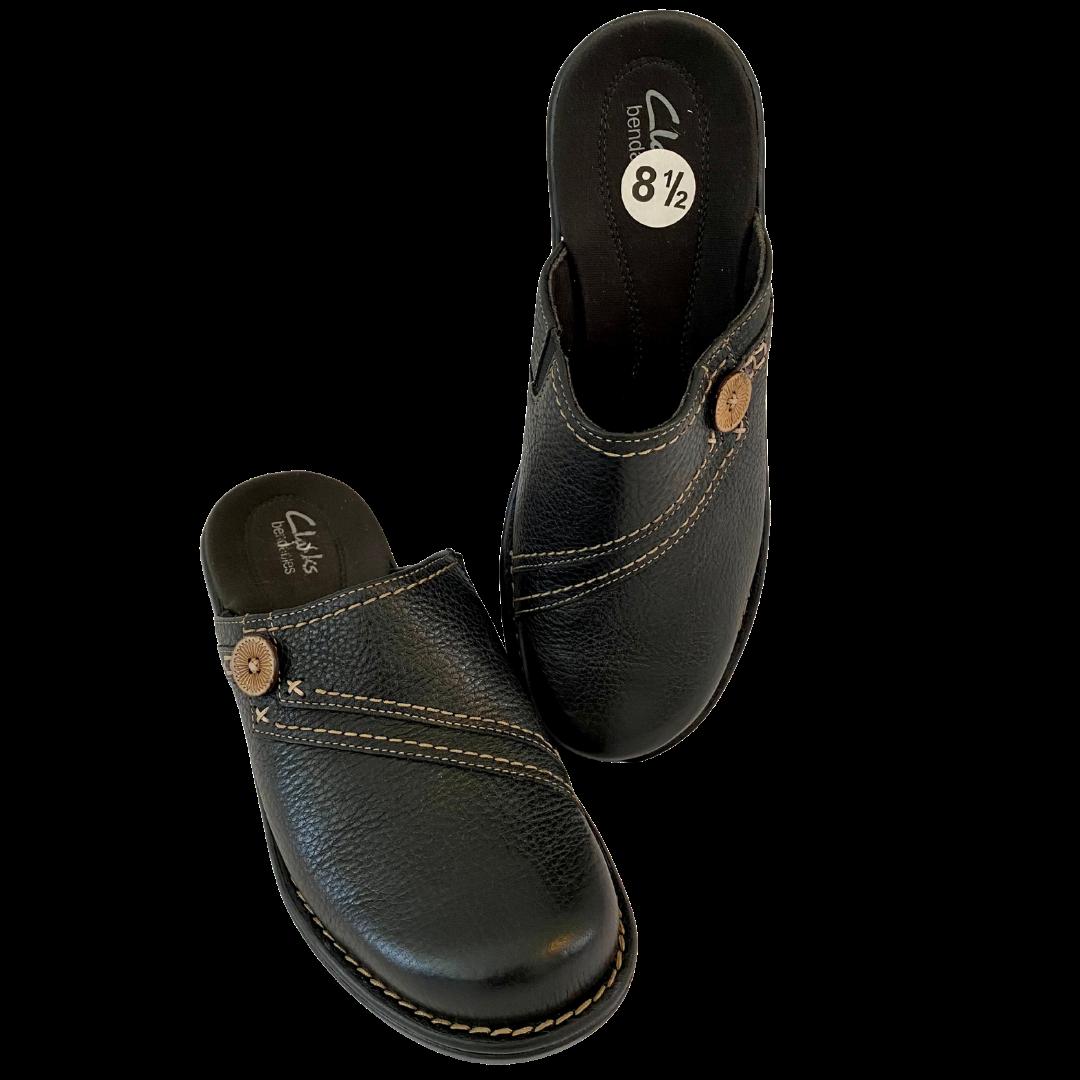 Clarks® Bendables Pebble Leather Button Accent Shoe Women's 8.5