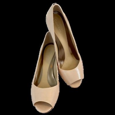 Calvin Klein Parisa Peep Toe Patent Lizard Shoe Women's 8