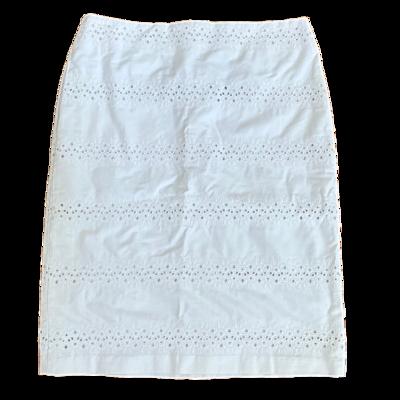 TALBOTS White Eyelet Pencil Skirt Women's 4P
