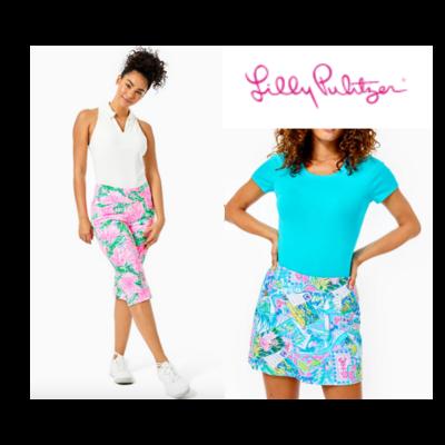 Lilly Pulitzer Yellow Capri & Turquoise Skort Set Women's 10