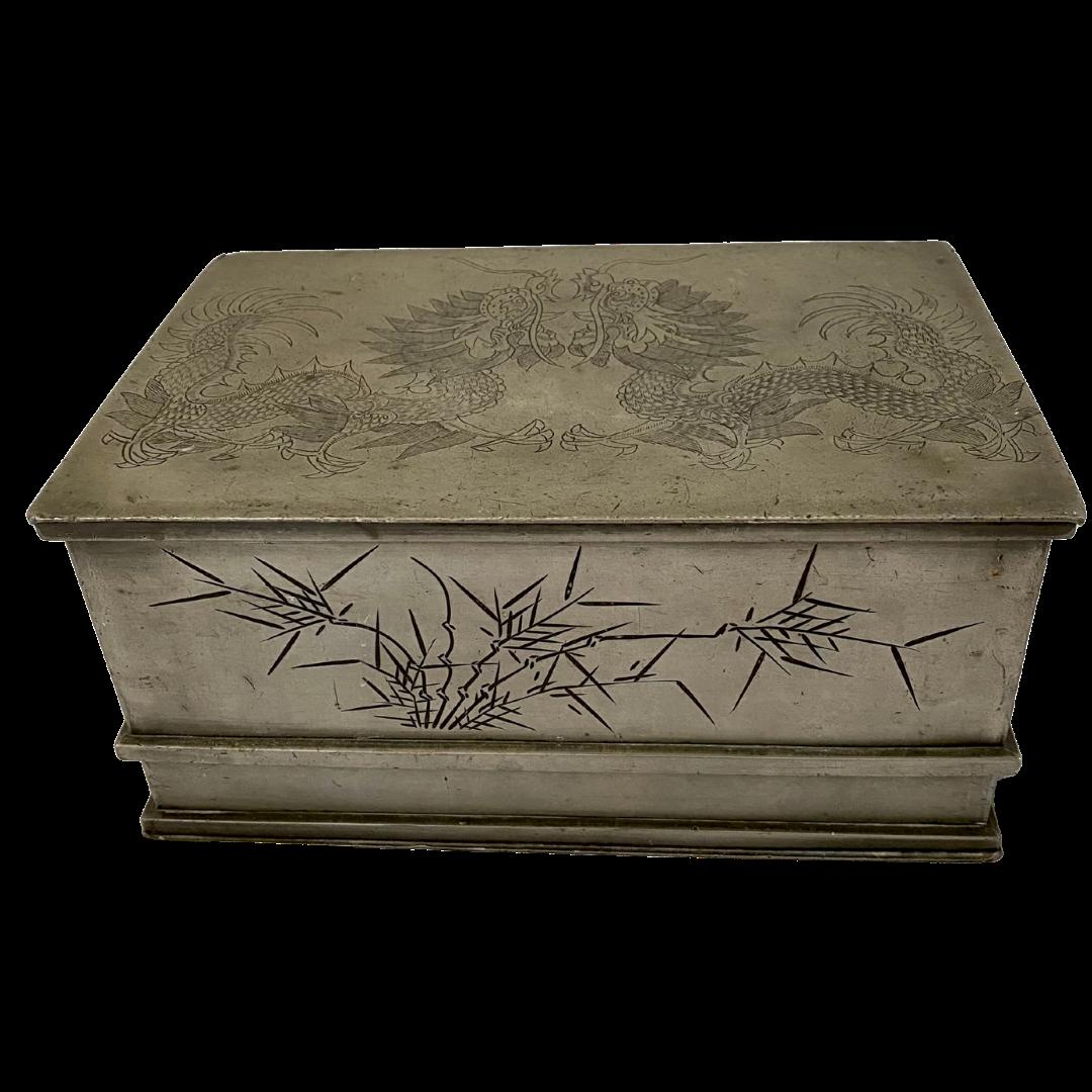 Kut Hing Pewter Swatow Tea Caddy Engraved Dragon Box