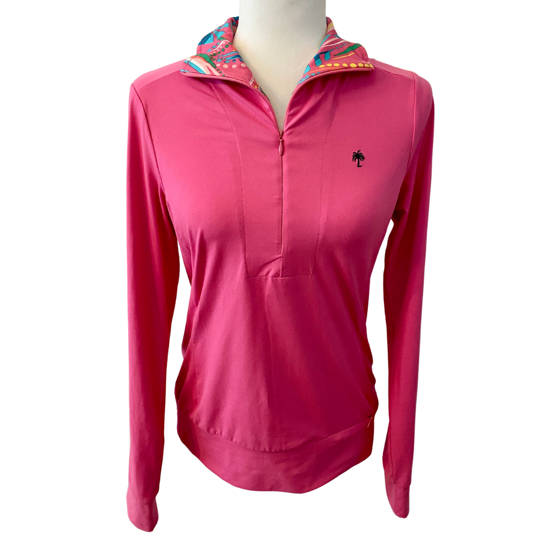 Lilly Pulitzer Pink Zip Front Pullover Women's Small
