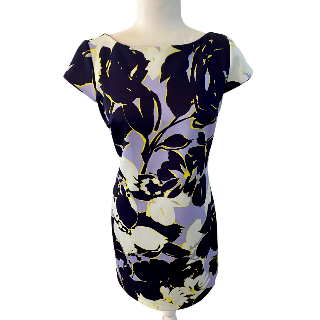 Vince Camuto Floral Cap Sleeve Lined Dress Women's 10