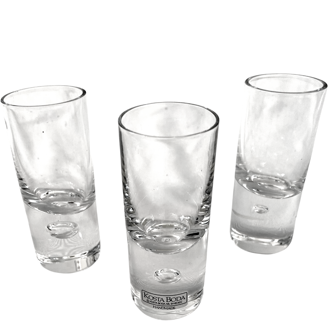 KOSTA BODA Pippi Cordial Bubble Base Handmade in Sweden Set of Three Glasses