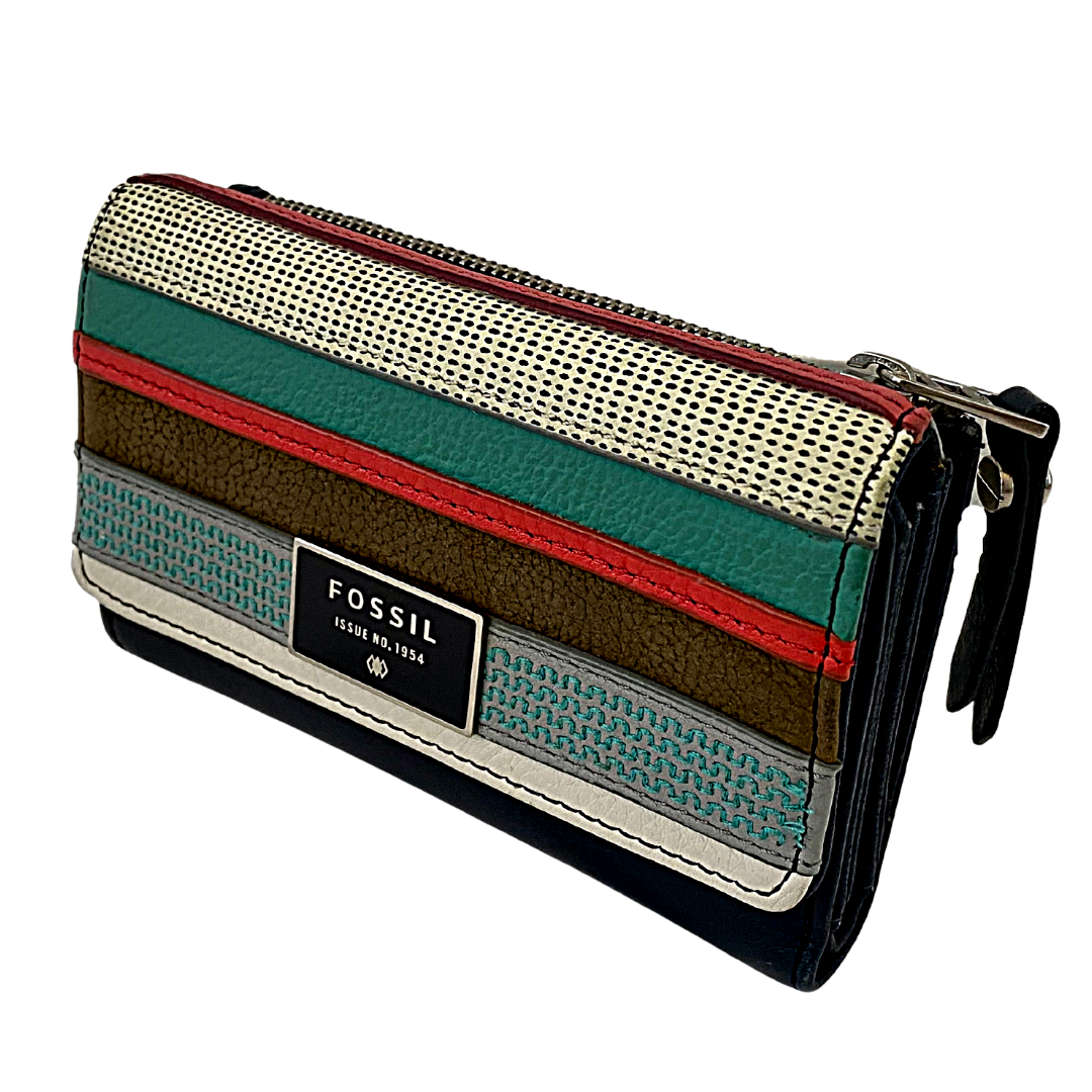 Fossil Issue No. 1954 Multi-Color Stitched Trifold Wallet