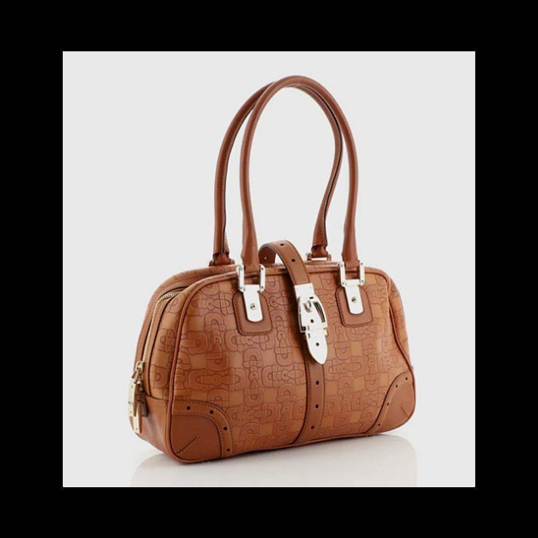 GUCCI Glam Boston Bag Horsebit Embossed Leather Handbag