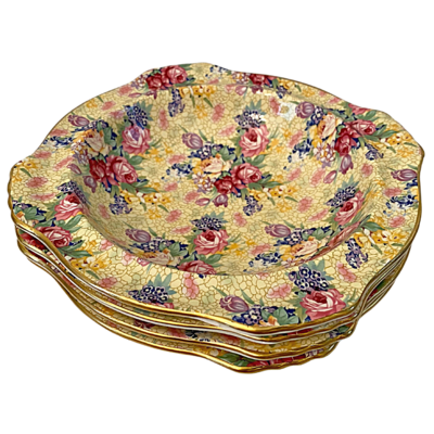 Royal Winton Welbeck Grimwades Ltd. Made in England 1995 Chintz Four Soup/Cereal Bowls
