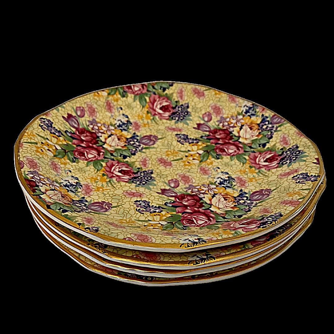 Royal Winton Welbeck Grimwades Ltd. Made in England 1995 Chintz Four Bread Plates