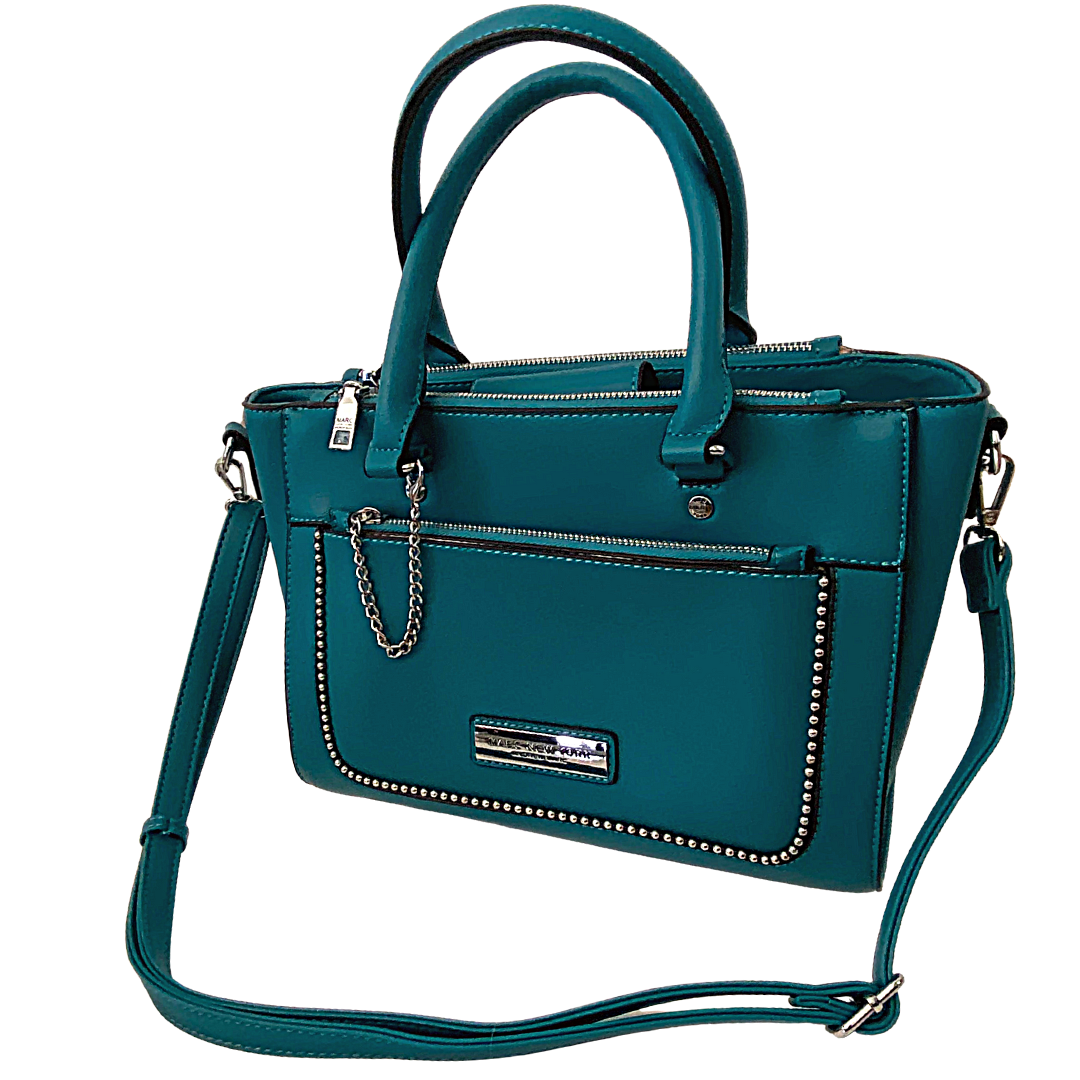 Andrew Marc 3 Compartment Turquoise Crossbody with Handles