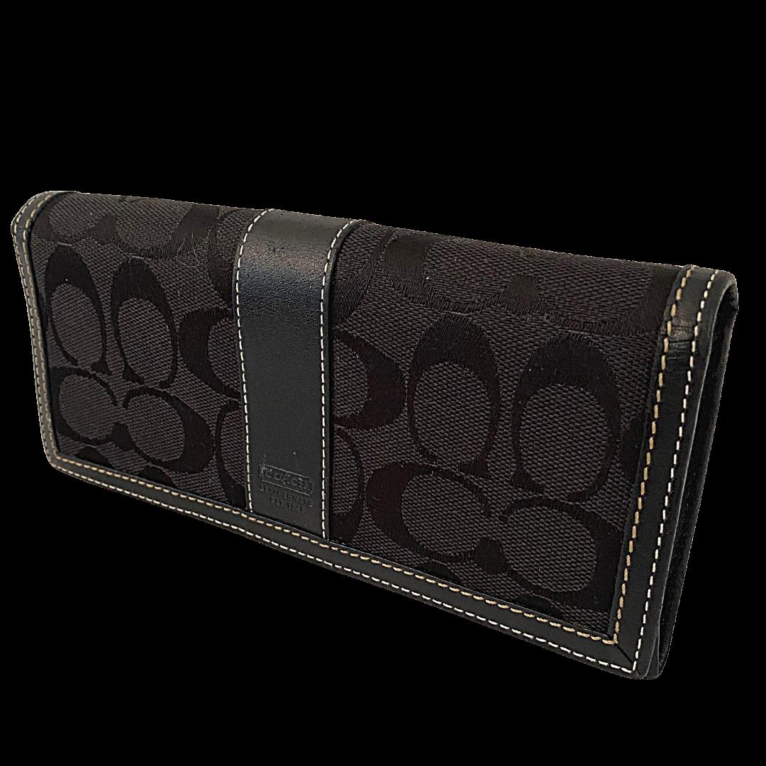 COACH Signature Canvas Checkbook Wallet