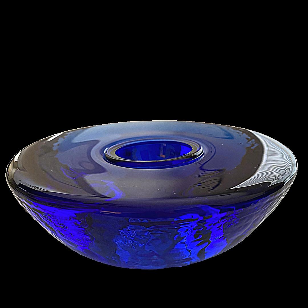 Fire & Light Signed Cobalt Blue Glass Votive Candle Holder
