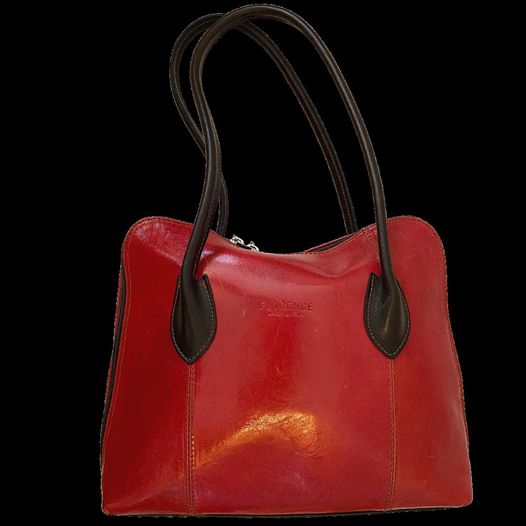 Florence Made in Italy Red Genuine Leather Shoulder Handbag