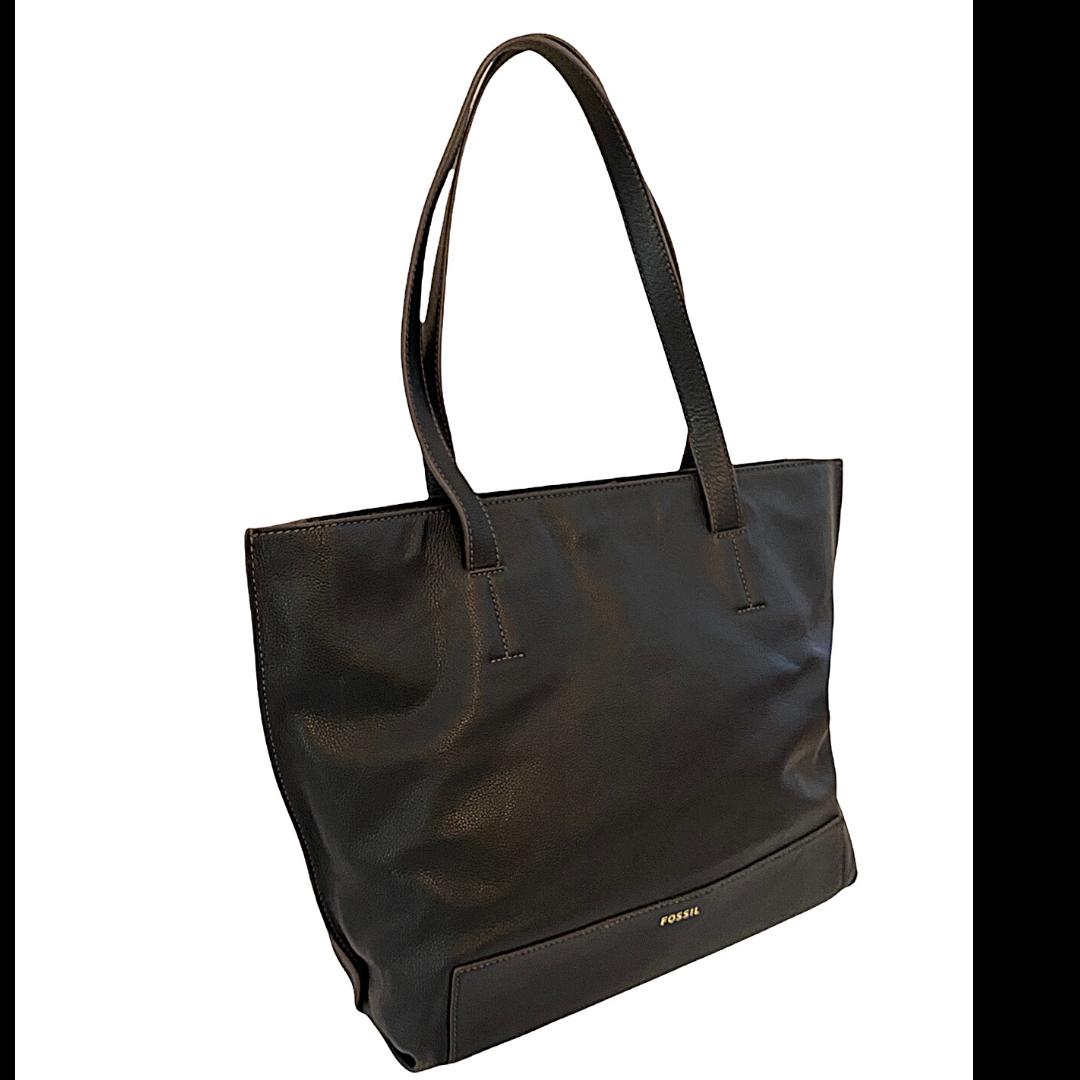 Fossil Pebble Grain Black Shoulder Tote Bag