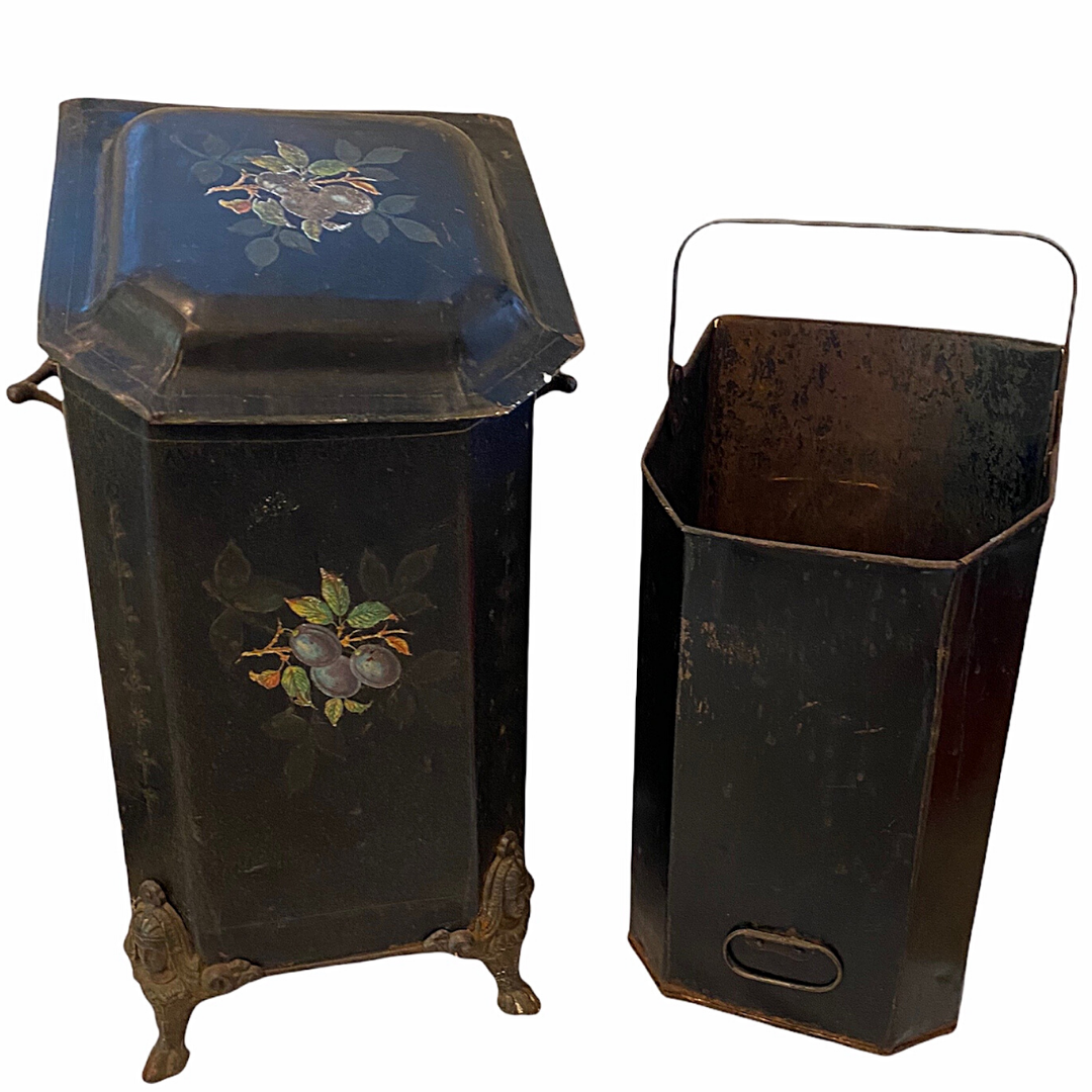 Victorian Antique Hand Painted Fireplace Hearth Clawfoot Coal Hod or Scuttle Caddy