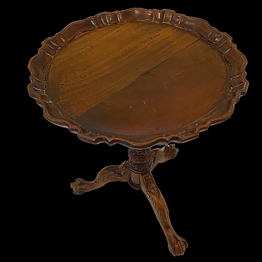 Vintage Pie Crust Bird Cage Tilt Top Clawfoot Table