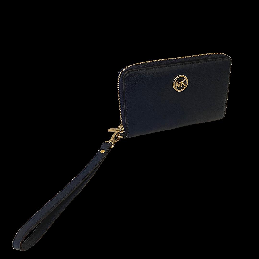 Michael Kors Zip Around Wallet & Phonecase Navy Wristlet