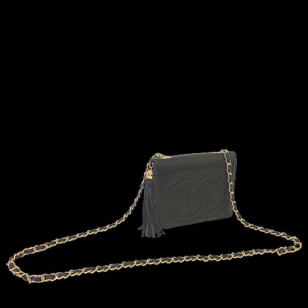 CHANEL Gold Threaded Strap Crossbody Flap Purse