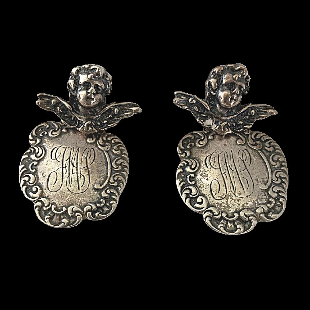 T Foree Sterling 925 Cherub Drop Vintage Post Earrings