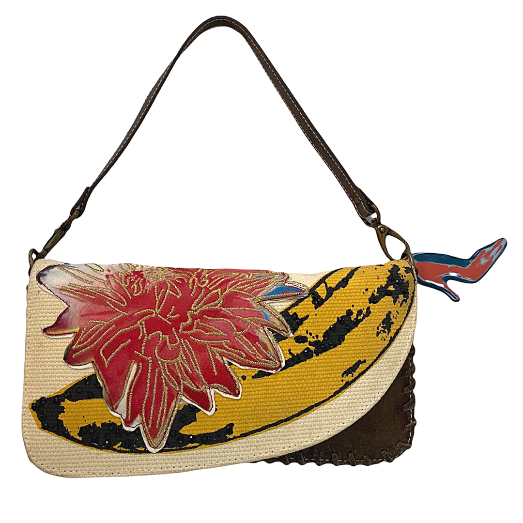 Andy Warhol Foundation For The Visual Arts Vintage Flower Banana Clutch Purse