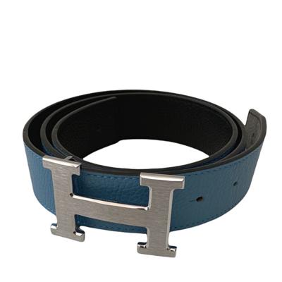 Hermes Pebble Grain Blue/Black Reversible Belt Men's 44