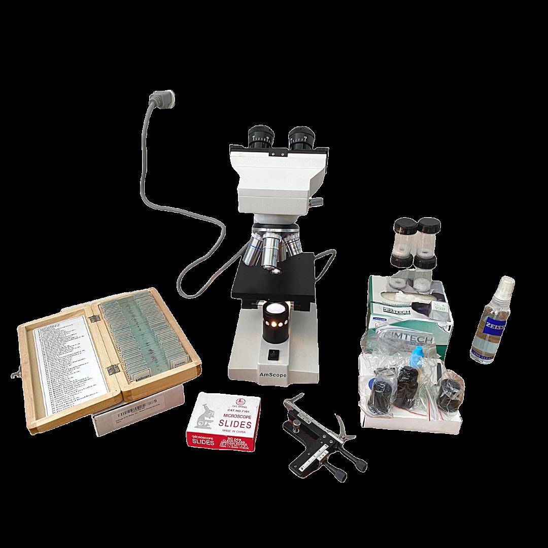 AM Scope Binocular Biological Microscope & Accessories BM-100FL