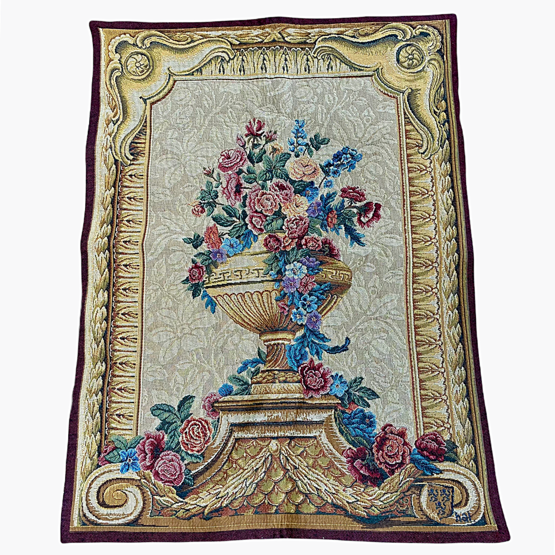 Point Des Meurins Wall Tapestry 5216 Vase Chambord Creme Made In France