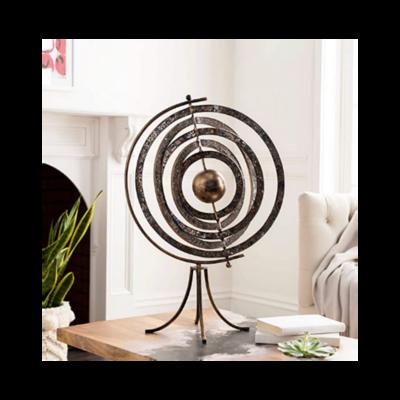 Surya Astrid Orbital Decorative Accent Piece Orbital Antiqued Metal & Glass